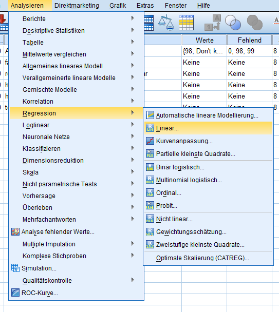 Pfad zur Regression SPSS