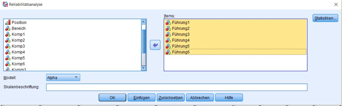 Dialogfenster für Cronbachs Alpha SPSS