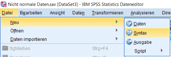 """SPSS Test auf Normalverteilung: Eine neue SPSS Syntax erstellen Sie über """"Neu -> Syntax"""""""