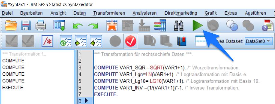 SPSS Test auf Normalverteilung: Anleitung Syntaxeditor