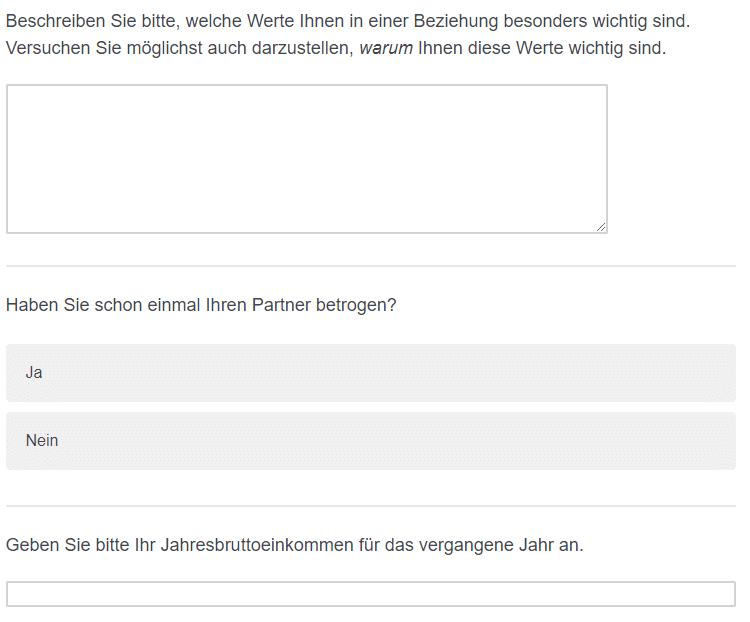 Fragebogen Aufbau: abschreckende Fragen