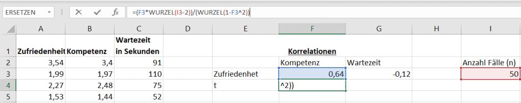 Korrelationsanalyse Excel: Korrelation r in t-Wert umformen
