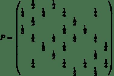 Markov Übergangsmatrix für Spielwelt Beispiel
