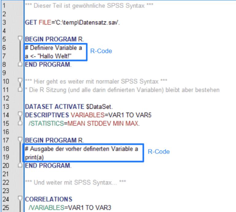 In SPSS R nutzen: Programmiersprache R in SPSS Syntax Editor