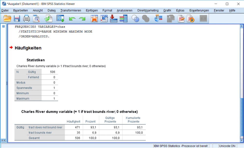 SPSS Output: Deskriptive Statistiken 1