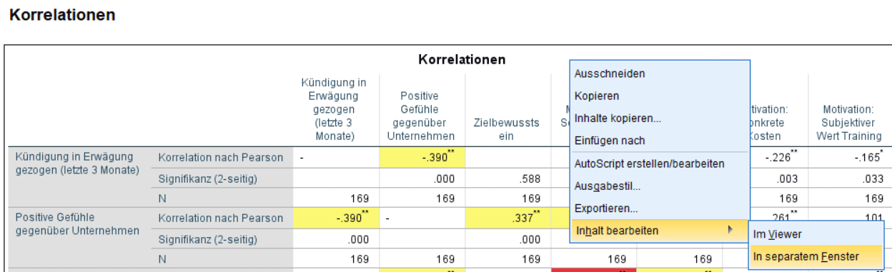 Korrelationsmatrix: per Rechtsklick in SPSS editieren