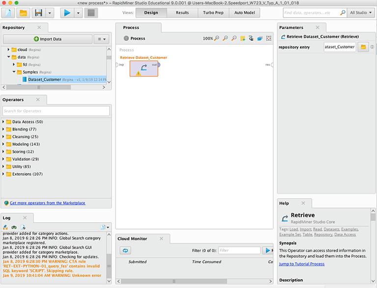 Retrieve Operator zum Einlesen eines Datensatzes für Rapidminer