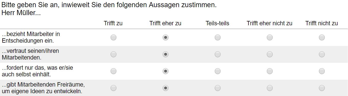 Dieser Fragebogen zeigt zumindest für diesen Teilnehmer eine hohe interne Konsistenz