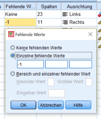 Datenbereinigung SPSS: Menübefehl zur Definition von Missing Values