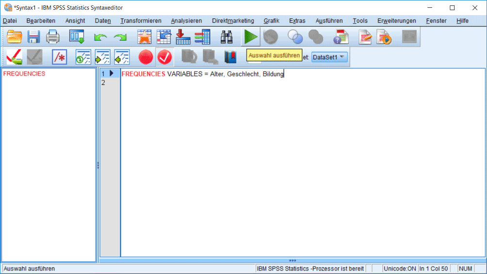 SPSS Syntax Befehle eingeben und ausführen: Häufigkeiten