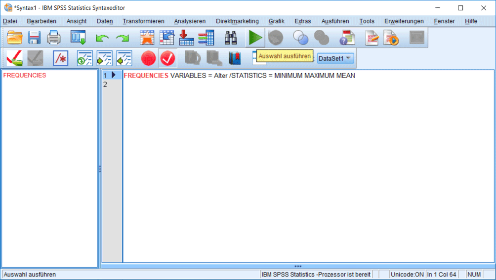 SPSS Syntax Befehle mit Unterbefehl
